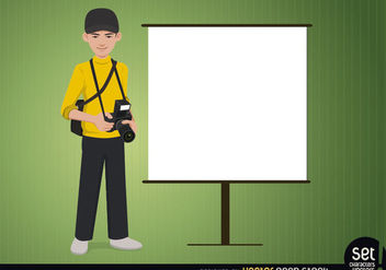 Photographer with a Presentation Screen - vector gratuit #180555