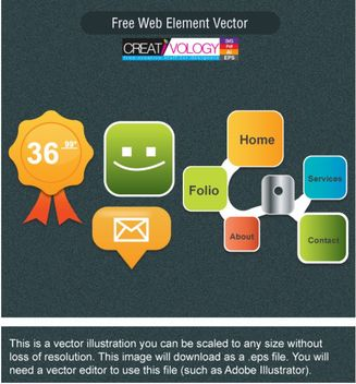 Creative Web Button and Element Pack - Free vector #180585