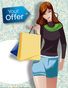 Shopping girl promo - Free vector #180725