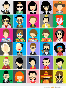30 Famous people avatars - vector gratuit #180735