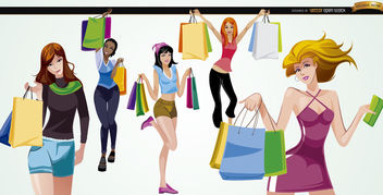 5 Girls with shopping bags - Free vector #180745