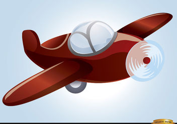 Cartoon toy plane flying - vector gratuit #180765