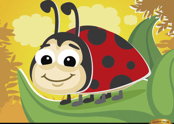 Cartoon ladybug on leaf - vector gratuit #180795