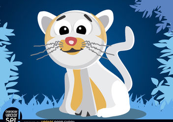 White cat cartoon animal - Free vector #180815