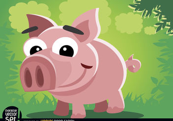 Funny pig cartoon animal - Free vector #180825
