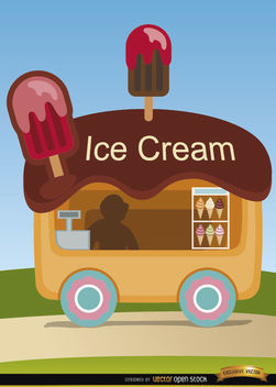 Ice cream wagon cartoon - бесплатный vector #180835