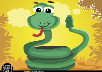Coiled rattle snake animal - Free vector #180895