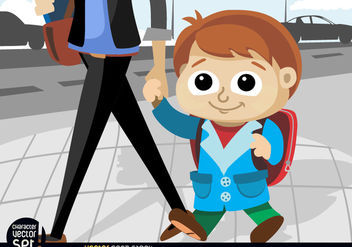 Kid going to school with mom - vector #180915 gratis