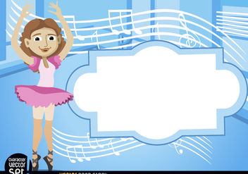 Ballet dancer with stave and text - Kostenloses vector #180955