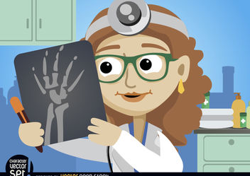 Doctor Woman looking radiography - Free vector #180975