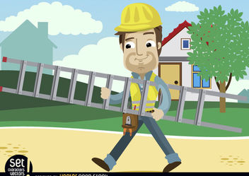 Contruction Worker Cartoon carrying ladder - vector gratuit #181005