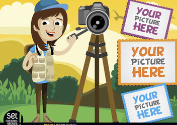 Photographer with camera and picture frames - vector gratuit #181015