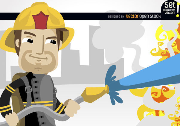 Fireman extinguishing flames - Free vector #181035