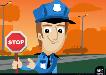 Policeman with stop warning - Free vector #181075