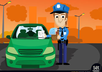 Traffic officer fine a car - vector gratuit #181085