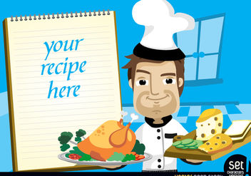 Chef with chicken, cheese and recipe note - vector gratuit #181095