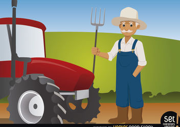 Farmer with Pitchfork Beside His Tractor - Free vector #181105