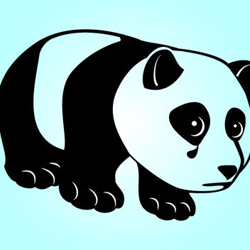 Black & White Funky Sad Panda - Free vector #181135