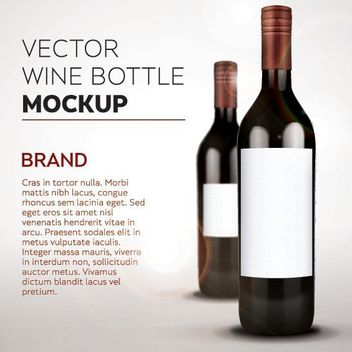 White Labeled Wine Bottle Mockup - vector gratuit #181185