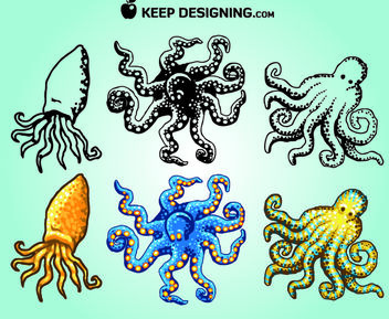 Funky Sketchy & Colored Octopus Pack - Free vector #181315