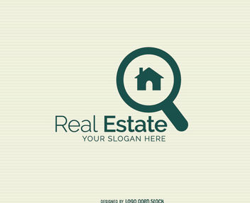 Magnifying House Real Estate Logo - Free vector #181335