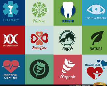 Logos for health centers and products - vector gratuit #181445
