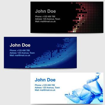 3 Business Cards with Abstract Pixilated Artwork - vector gratuit #181545