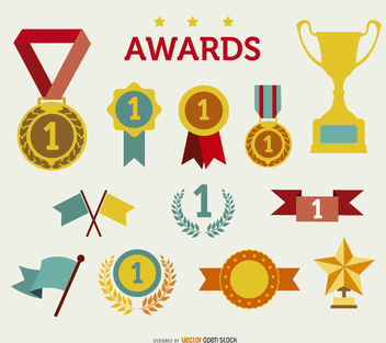 Trophy and awards icon Set - бесплатный vector #181555