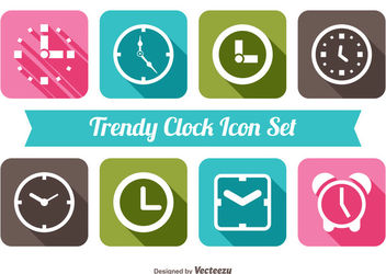 Clock Icon Colorful Squares Pack - Free vector #181565