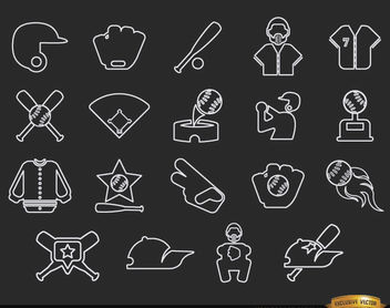 20 Baseball stroke icons pack - Free vector #181625