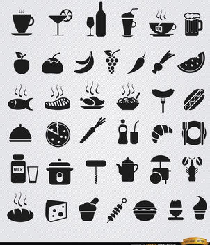 36 Food and drink flat icons - vector #181635 gratis