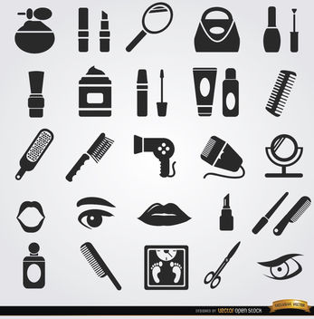 Beauty women objects cosmetics icons - Free vector #181655