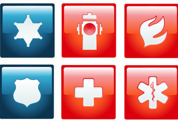 Flat Emergency Sign Pack on Red Squares - Free vector #181665