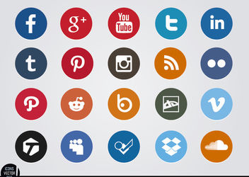 Social media circle icons pack - vector gratuit #181715