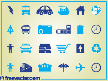 Blue Clean Icon Set - vector gratuit #181785