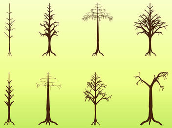 Dead Crooked Tree Pack Silhouette - Free vector #181925