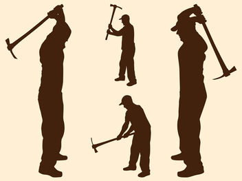 Labor Men Silhouettes with Pickaxes - Free vector #181955