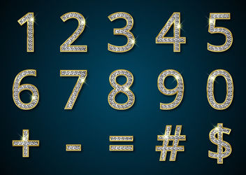 Diamond Textured Numerical Golden Font - Free vector #181975