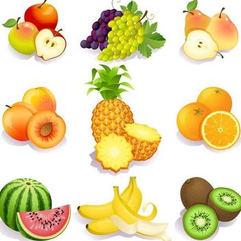 Fresh Testy Fruits Pack - Free vector #182055