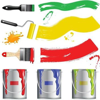 Paint Brush with Liquid Paintings - Free vector #182065