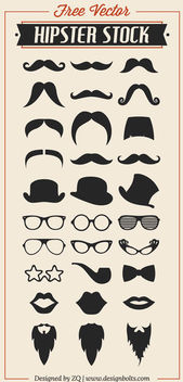 Cool Hipster Set Silhouette - Free vector #182075