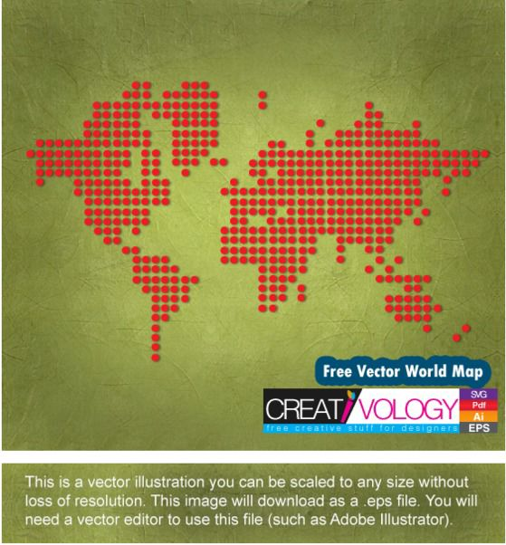 Red Pixilated World Map - Kostenloses vector #182105
