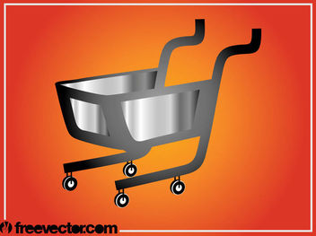 Silver & Grey 3D Shopping Cart - vector gratuit #182145