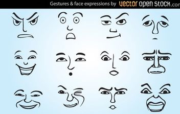 Gestures and face expressions - vector gratuit #182155