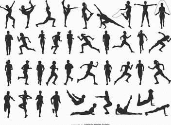 40 Fitness silhouettes - vector gratuit #182285