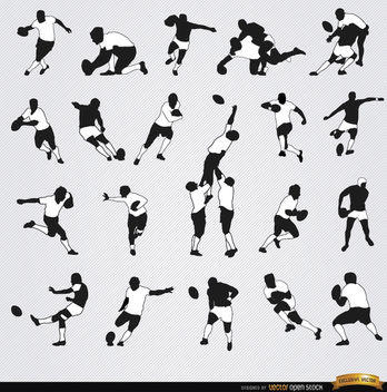 20 Rugby silhouettes set - Free vector #182315