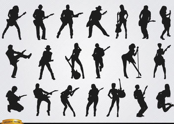 Male and female guitarists silhouettes - vector gratuit #182335