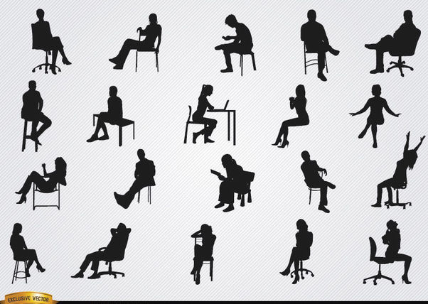 People sitting in chairs silhouettes - Free vector #182355