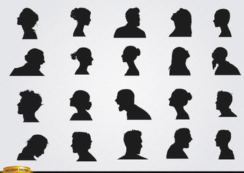 Profile silhouettes set - vector gratuit #182365