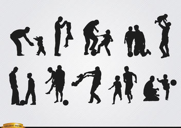 Fathers playing with sons silhouettes - vector #182375 gratis